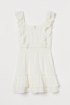 Ruffle-trimmed Cotton Dress - White