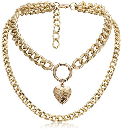Amazon.com: smallwoodi Exquisite Stylish Pendant,Punk Double Layer Love Heart Pendant Thick Curb Chain Choker Necklace Jewelry for Women Jewelry Golden: Clothing