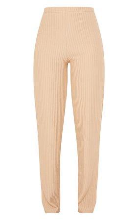 Camel Wide Rib Straight Leg Trousers | PrettyLittleThing USA