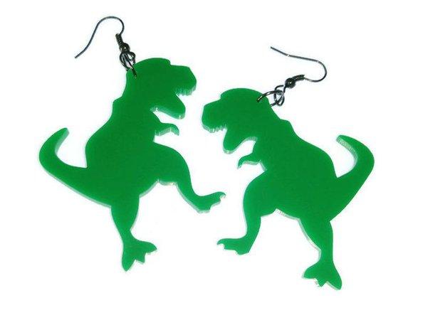 T Rex Earrings Big Green Dinosaur Earrings Tyrannosaurus Rex | Etsy
