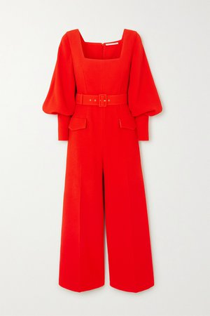 Red Patrice belted crepe jumpsuit | Emilia Wickstead | NET-A-PORTER