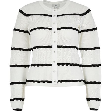 White scallop stitch cardigan | River Island