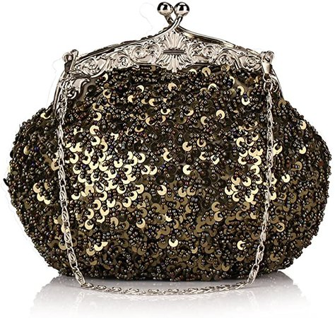 Chicastic Fully Sequined Mesh Beaded Antique Style Formal Cocktail Clutch- Black: Handbags: Amazon.com