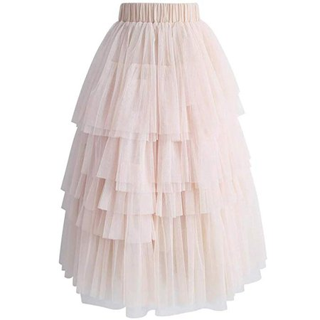 Women Layered Tulle Skirt in Nude Pink Fluffy Princess Tiered Mesh Ballet Prom Party Tulle Tutu A-Line Dress at Amazon Women's Clothing store: