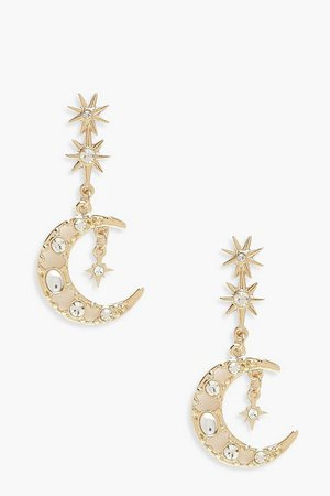 Moon & Stars Drop Earrings | boohoo