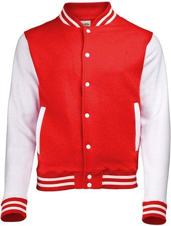 Amazon.com: Awdis Unisex Varsity Jacket (XS) (Fire Red / White): Sports & Outdoors