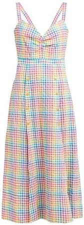 Anya Rainbow Gingham Cotton Seersucker Dress - Womens - White Multi