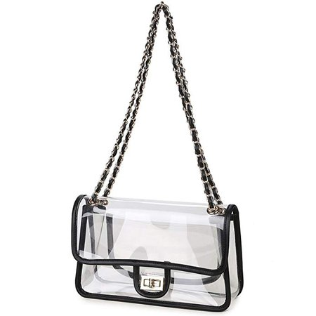 Lam Gallery Women's PVC Clear Purse Handbags for Working Concert NFL Stadium Approved Bags Vinyl Plastic See Through Bag Transparent Handbags Turn Lock Chain Shoulder Bags Black Trim: Handbags: Amazon.com
