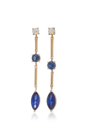 18K Gold, Sapphire And Diamond Earrings by Yi Collection | Moda Operandi