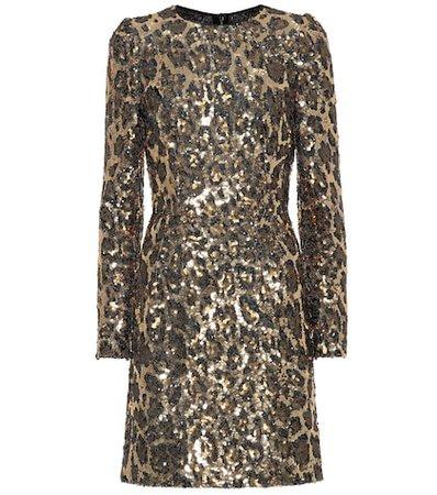 Sequined leopard minidress