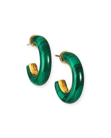 NEST Jewelry Small Malachite Hoop Earrings