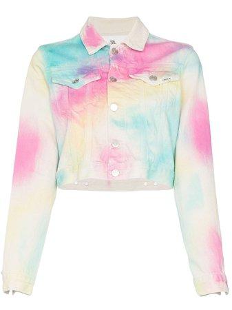 Jordache rainbow tie-dye denim jacket