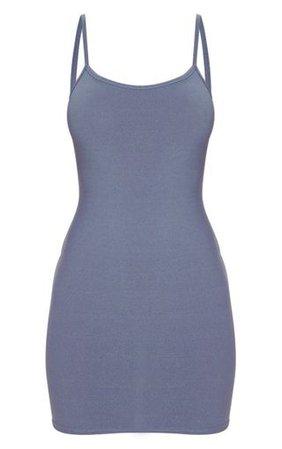 Grey Strappy Straight Neck Bodycon Dress | PrettyLittleThing