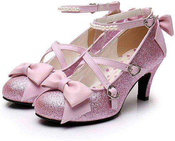 Amazon.com | Women's Shiny Silver/Gold Sequin Pumps Criss-Cross Pearl Ankle Strap Princess Lolita Shoes | Pumps