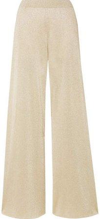 Metallic Stretch-knit Wide-leg Pants - Gold
