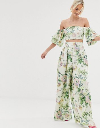 ASOS EDITION wide leg pants in floral print | ASOS