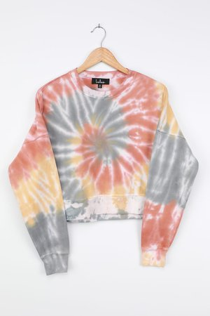 Rainbow Tie-Dye Sweater - Yellow Multi Tie-Dye Cropped Sweatshirt
