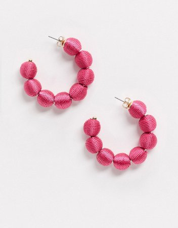 Monki Suzanne thread ball large hoops in pink | ASOS