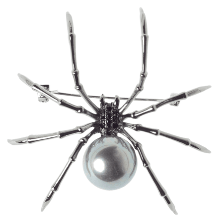 BLACK WIDOW WHITE PEARL BROOCH - Sourpuss Clothing