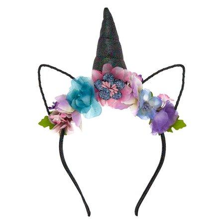 Dark Unicorn Flower Crown Headband - Purple