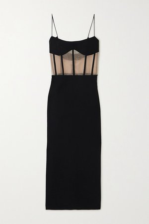 Crepe And Tulle Bustier Dress - Black