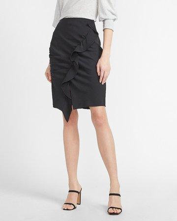 High Waisted Asymmetrical Ruffle Skirt