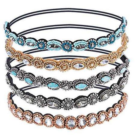 Amazon.com : Pangda 5 Pieces Crystal Beads Elastic Hairband Handmade Rhinestone Headband Hair Accessories : Beauty