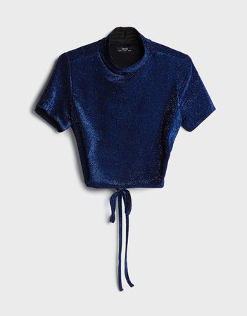 Metallic T-shirt with bow - New - Woman | Bershka