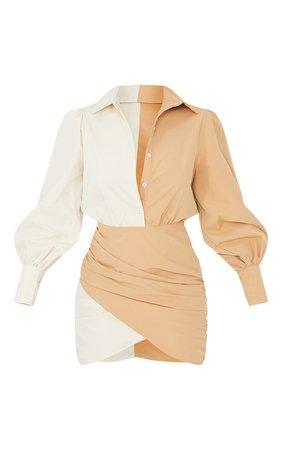 Stone Contrast Detail Long Sleeve Shirt Dress | PrettyLittleThing USA