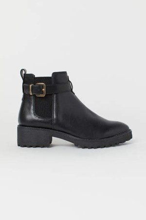 Chelsea Boots with Strap - Black