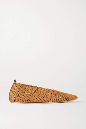 Chain-embellished Woven Vegetarian Leather Ballet Flats - Tan