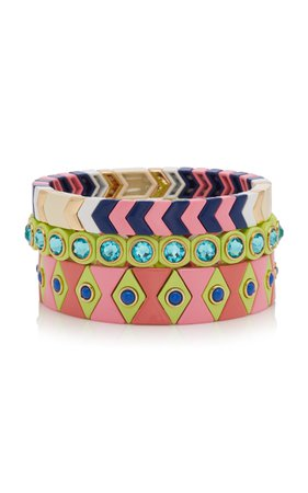 Palm Beach Set-Of-Three Enamel Bracelets by Roxanne Assoulin   Moda Operandi
