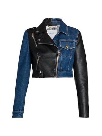 Moschino Faux Leather & Denim Jacket