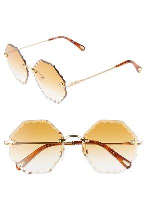 Chloé Rosie 58mm Gradient Octagonal Rimless Sunglasses | Nordstrom