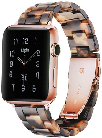 Amazon.com: Light Apple Watch Band - Fashion Resin iWatch Band Bracelet Compatible with Copper Stainless Steel Buckle for Apple Watch Series SE Series 6 Series 5 Series 4 Series 3 Series 2 Series1 (Flower Pink, 38mm/40mm)