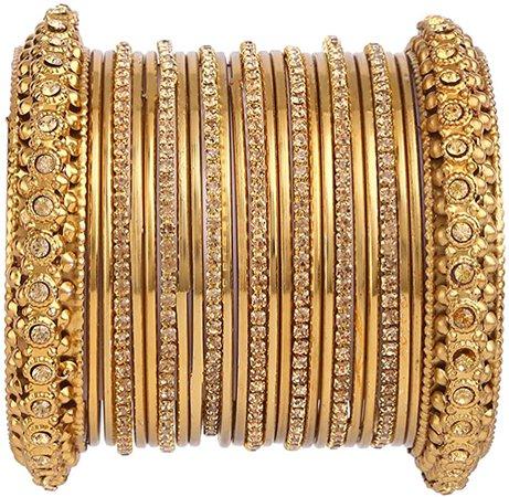 Amazon.com: Efulgenz Boho Vintage Antique Gypsy Tribal Indian Oxidized Gold Plated Crystal Bracelet Bangle Set Jewelry (25 Pc): Jewelry