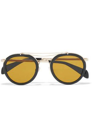 rag & bone | Nomad round-frame textured-leather and gold-tone sunglasses | NET-A-PORTER.COM