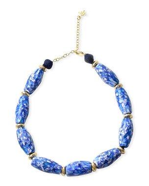 Akola Chain & Raffia Tassel Lariat Necklace | Neiman Marcus