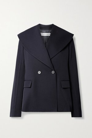 Double-breasted Wool-twill Blazer - Navy