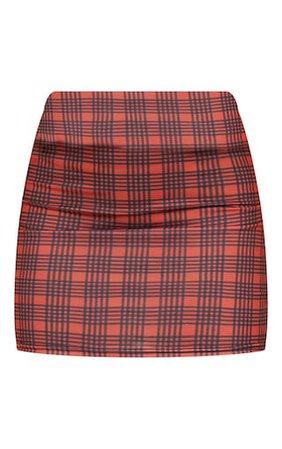 Rust Check Printed Mini Skirt   Skirts   PrettyLittleThing USA
