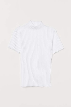 Short-sleeved Turtleneck Top - White