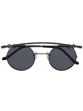Karen Wazen RETRO Curved Round Sunglasses RETRO Black | Farfetch