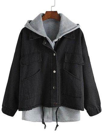 Black & Grey layered hoodie jacket
