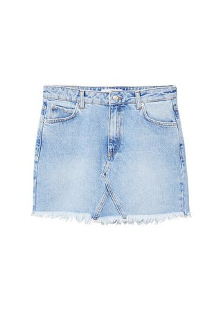 MANGO Frayed edges denim skirt