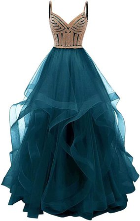 Amazon.com: Lilibridal Women's Tulle Crystal Beaded Tiered Spaghetti Strap Prom Ball Gown 24 Plus Dark Green: Clothing