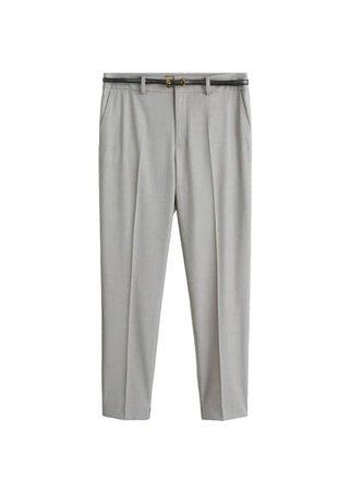 MANGO Belt straight-fit trousers