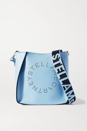 Perforated Vegetarian Leather Shoulder Bag - Light blue
