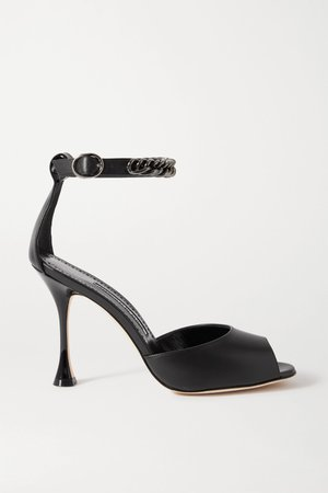Black Fombra chain-embellished leather sandals   Manolo Blahnik   NET-A-PORTER
