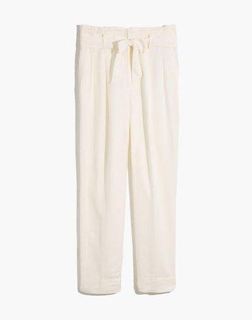 Linen-Blend Paperbag Pants white