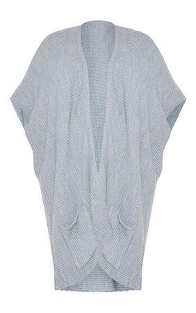 Plus Grey Chunky Knit 3/4 Sleeve Wrap Cardigan | PrettyLittleThing